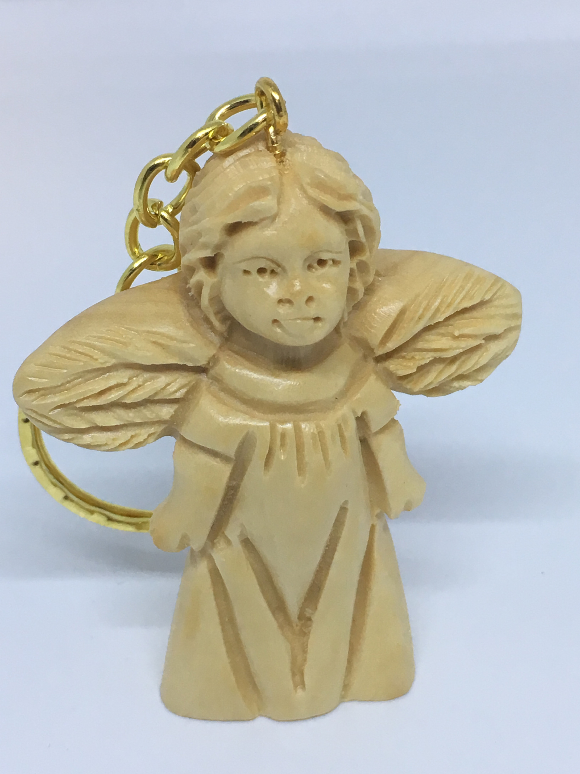 Olive Wood Angel With A Key Chain